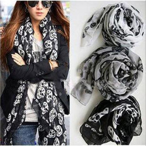 2017 New Fashion women Ladies Girls Cool Big Skull Head Skeleton Scarf Neck Wrap Shawl Stole Warm Winter Free Shipping(China (Mainland))