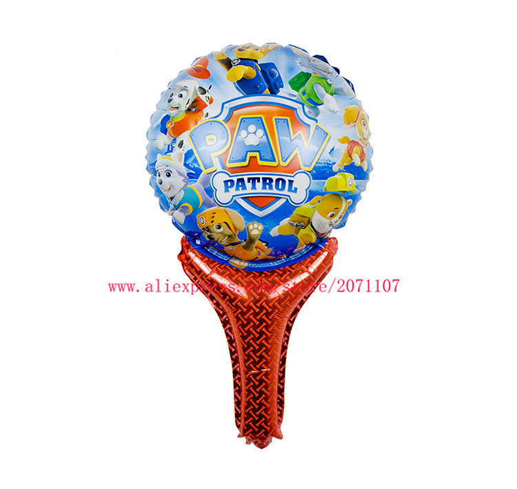 Lucky 50pcs/lot Dogs Patrol Balloon Holding Sticks Foil Helium Balloons Kids Inflatable Classic Toys Party Decorations Globos(China (Mainland))