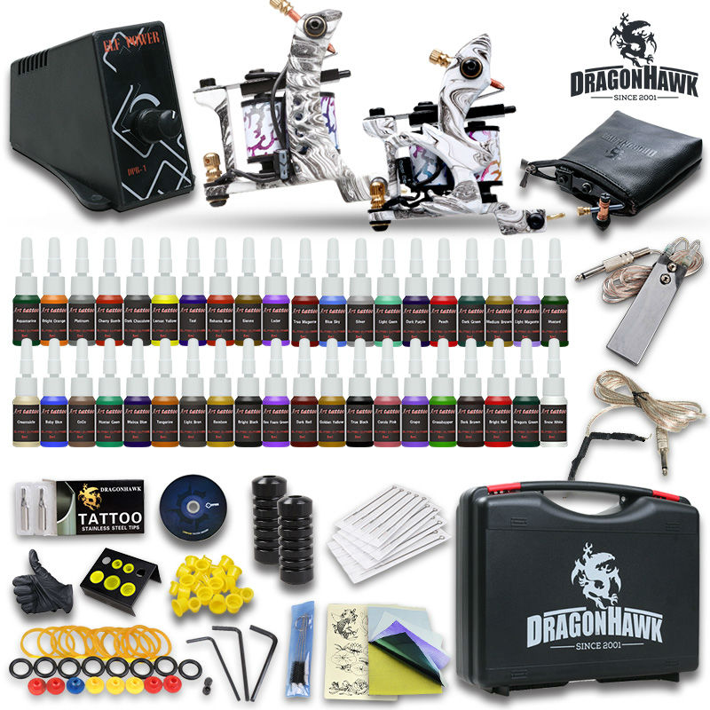 Complete Tattoo Kit 2 Top Machine Gun 40 Color Ink TOP Power Supply Needle with case HW-8GD-1<br><br>Aliexpress