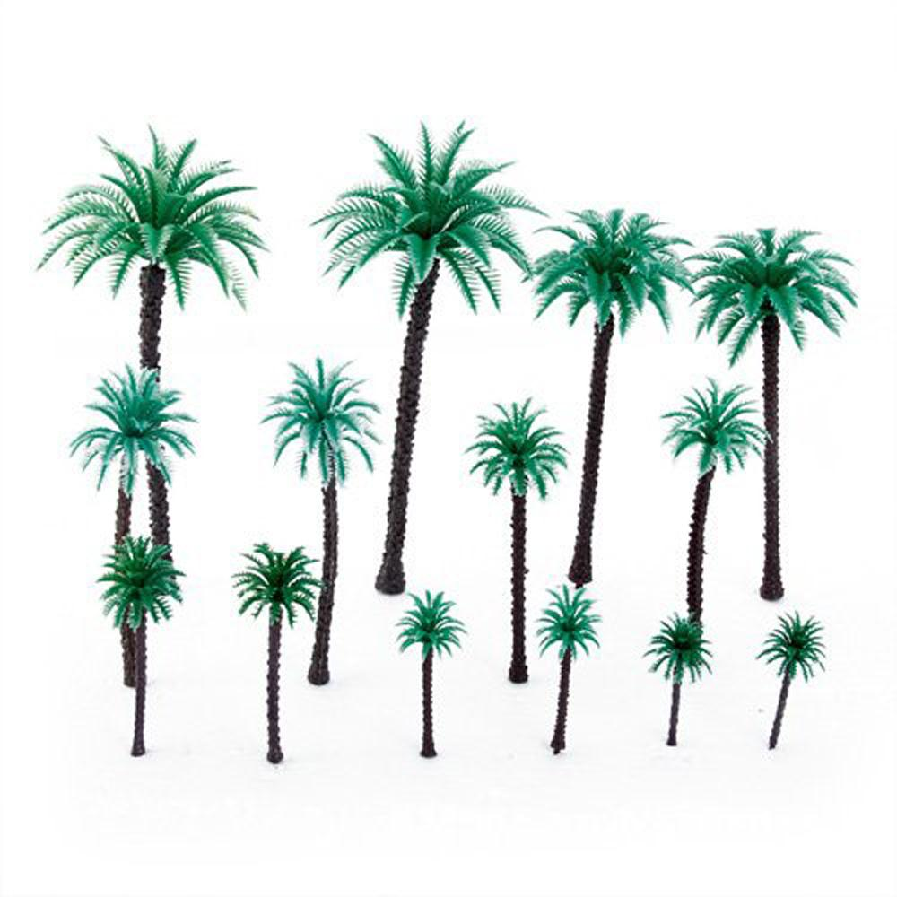 New! 14Pcs 1.9 Inch - 6.6 Inch Coconut Palm Trees Layout Train Scale 1/50(China (Mainland))