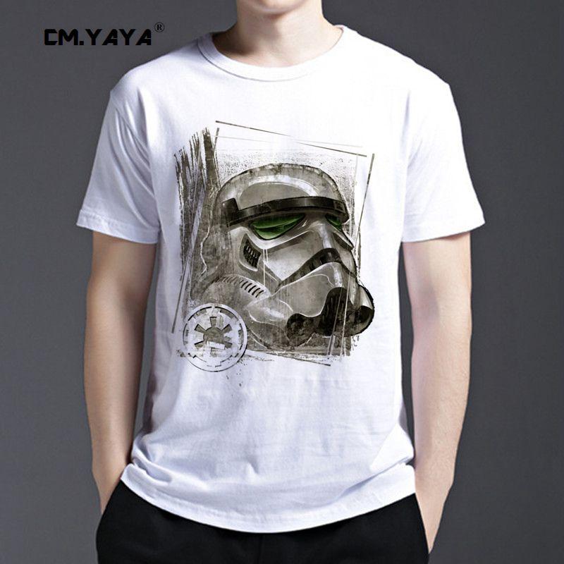 CM.YAYA Star Wars Imperial Stormtrooper Sketch Print men's summer short sleeve t shirt 160675(China (Mainland))