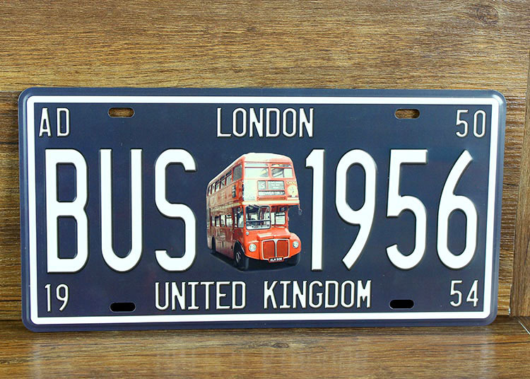 "UA-CP-00262 Free shipping Vintage matal tin signs car number "" BUS-1956 LONDON ""pub bar wall art craft home decoration 30*15 CM(China (Mainland))"