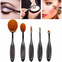 Feitong 5PC/Set Tooth Brush Shape Oval Makeup Brush Set Professional Foundation Powder Brush Kits Makeup Brush Set(China (Mainland))