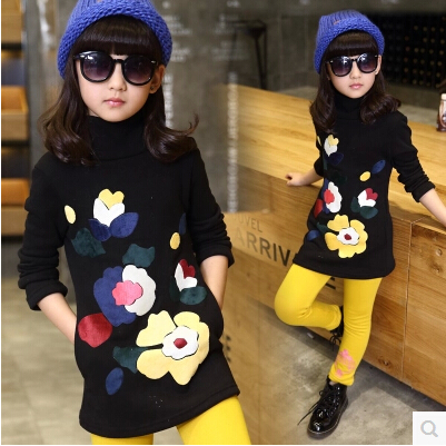 5-13 Years T-shirts For Girls Turtleneck Children's Tshirts Black Printed Floral Teenager Girls Fashion Shirts Group Buying(China (Mainland))