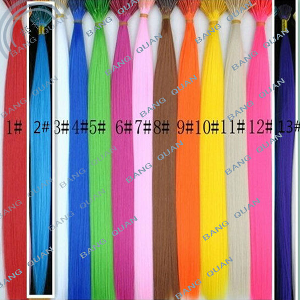 100pcs good quality synthetic hairpiece 16inch hair Extensions 12 colors avaiable fake hair With free Beads and hook