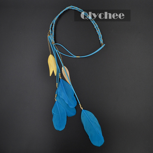2015 fashion summer style accessories women skyblue feather pendant headband golden leaves rope knitted belt elastic hairband(China (Mainland))