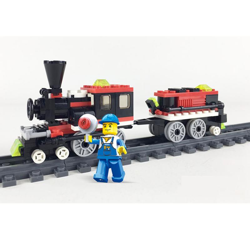 Resin Plastic Model Kits Railway Live Steam Train Building Bricks Children Small Educational Toys Juguetes LegoeINGlys 27092(China (Mainland))
