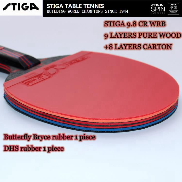 finished racket original stiga carbo 9.8 cr wrb table tennis racket /9 layers pure wood +8 layes carbon blade with 2PCS rubber(China (Mainland))