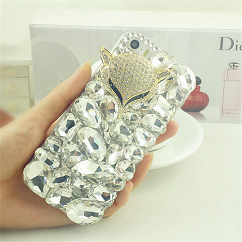 iphone5s latest diamond mobile phone shell mobile phone sets shell 5c 5s 4s protective shell rhinestone fox head(China (Mainland))