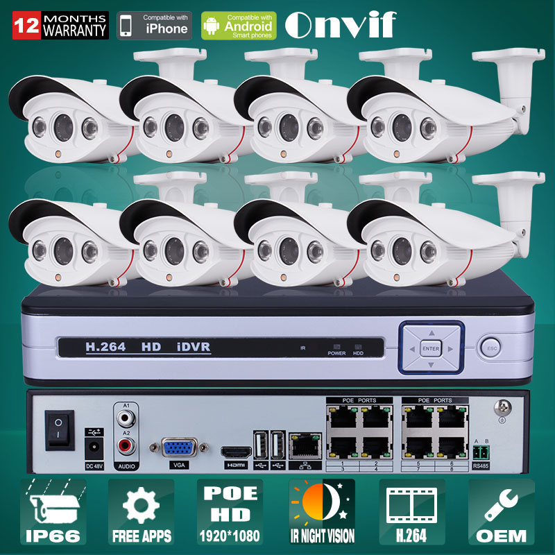 Plug And Play 8CH CCTV System POE NVR Onvif 1080P HD Sony Sensor 25fps Array IR Outdoor Surveillance Security IP POE Camera(China (Mainland))