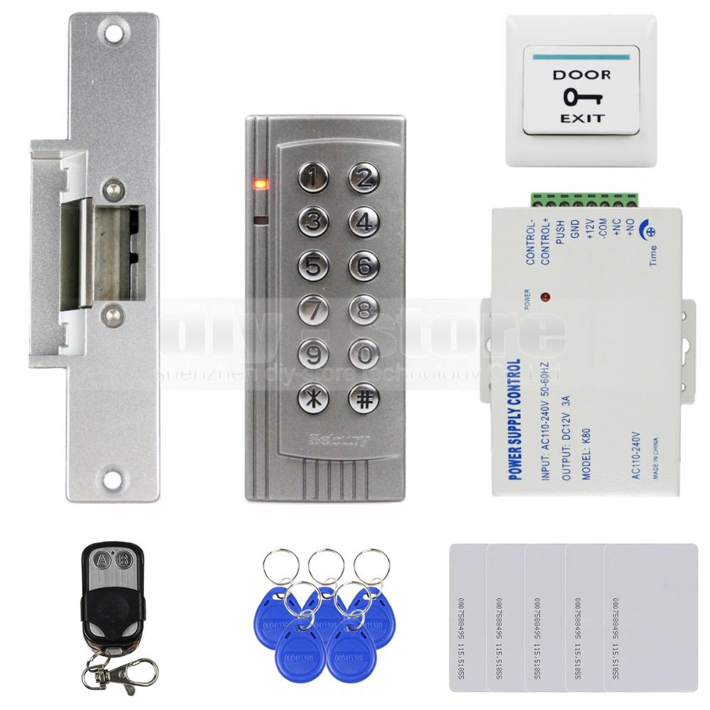 K4 DIY Remote Control 125KHz RFID EM Reader Door Access Control System Kit + Door Lock Electronic + Exit Button(China (Mainland))
