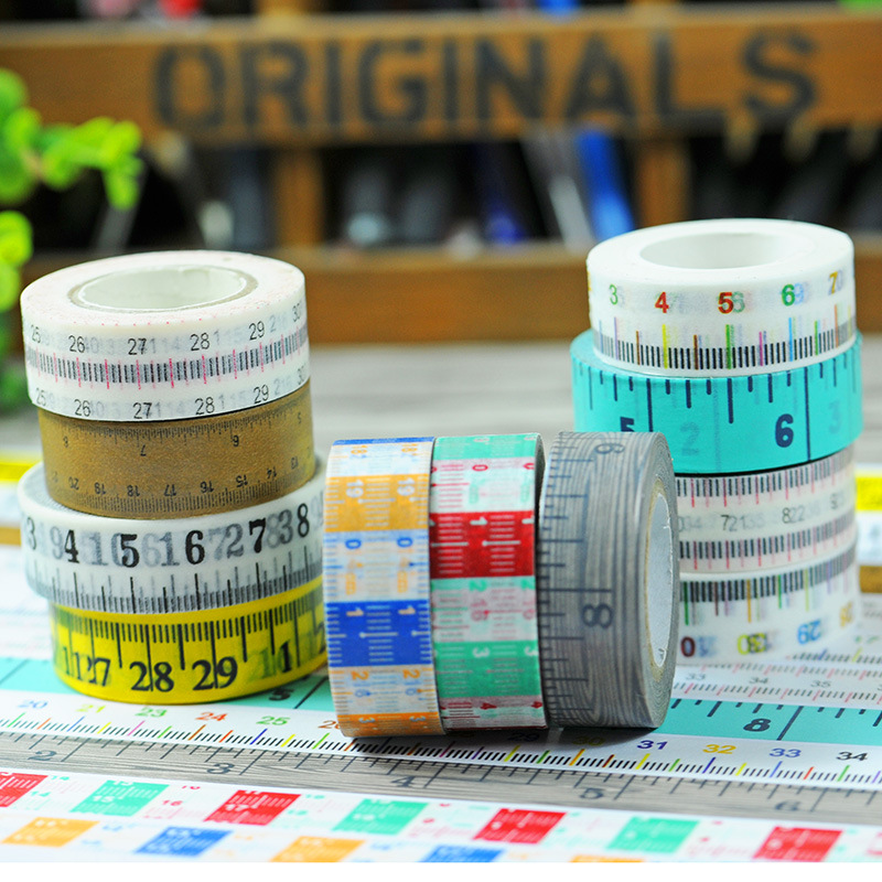 2016 New 1x Scale Ruler Patterned Japanese Washi Tape Measure Meters DIY Office Adhesive Tapes Decorative