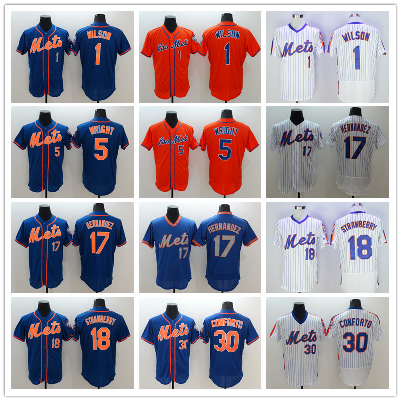 5 David Wright 18 Darryl Strawberry Jerseys white gray red blue(China (Mainland))