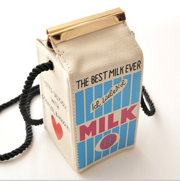 THE BEST MILK EVER Brand New Fashion Makeup Cartons Bag Women Letter Canvas Shoulders Bag Cute Stereo Mini Milk Box PA840044(China (Mainland))