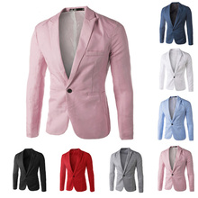 New Arrival Single Button Leisure Blazers Men Male 2015 Fashion Slim Fit Casual Suit Red Navy Blue Blazer Dress Clothing M-5XL(China (Mainland))