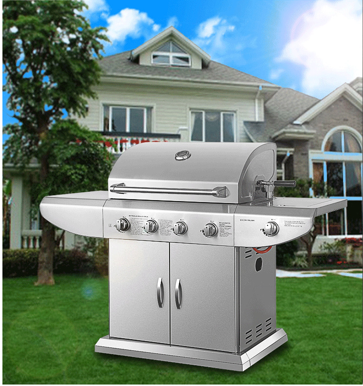 Super Germany quality standard lava-rock stainless steel gas bbq grill machine dual-use outdoor bbq stove natural&propane gas(China (Mainland))