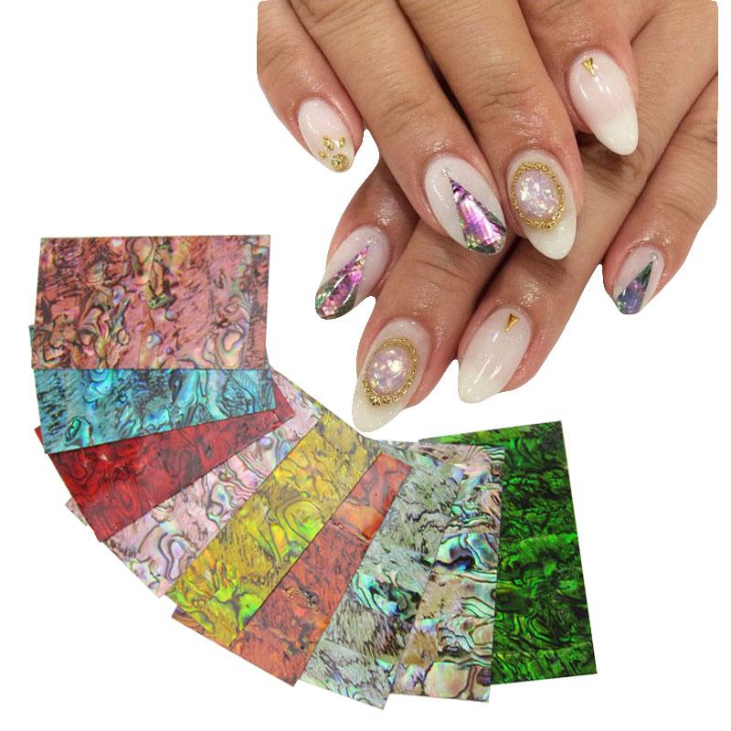 9 colors choice Hot popular natural shells Japan style 3d shell sticker nail art decoration tools YX152(China (Mainland))
