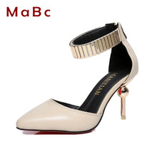 2016 Summer Shoes Women High Heels pumps Metal ankle strap Red Bottom Women Pumps Pointed Sexy Party Dress Shoes for Woman BJ074