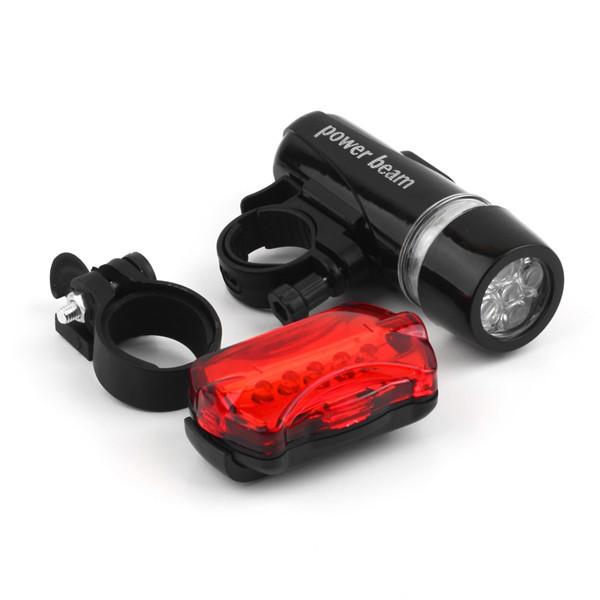 1Set Waterproof 5 LED Lamp Bike Bicycle Front Head Light Rear Safety Flashlight Black free shipping