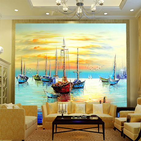 large mural wallpaper dining room den sofa living room