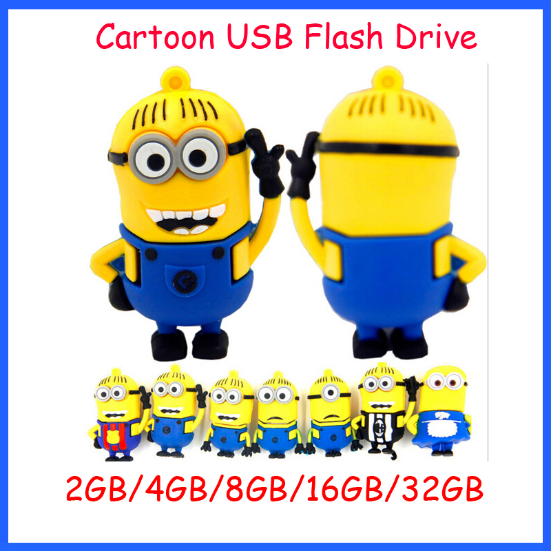 ! Real Capacity Cartoon USB Flash Drive Minions Despicable 2 Pendrive 4GB 8GB 16GB 32GB Memory U Disk - Ashintar Store store