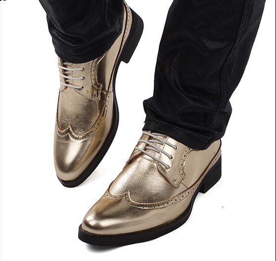L1184 Size 38-43 2015 Men's Brief Bullock Style Gold Sliver Color Dress Oxfords Young Boys Fashion Leather Shoes Party - Shop 1225 store