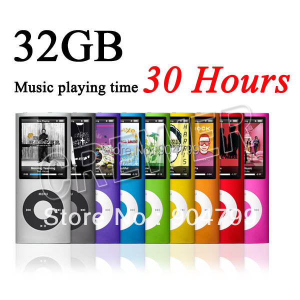 "Cheap MP3 Music Playing Time 30Hours New 32GB Slim 1.8"" 4th LCD MP3 Player EBOOK Music FM Radio Video 9COLOR Silicone case Gift(China (Mainland))"