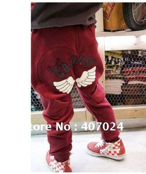 2012 Winter boys girls pants trousers kids Angel Wing thicken pants 5pcs/lot 3colors  650063J