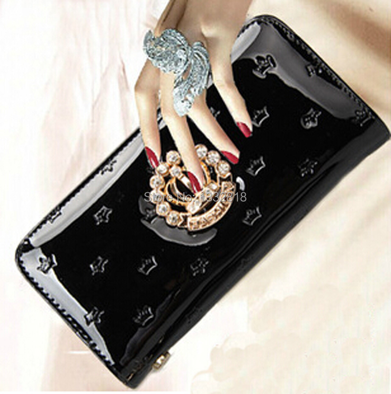 Women wallets 2015 new fashion hand bag purse wallet with crown diamond drill girl lovely long ladies purse bag handbags(China (Mainland))