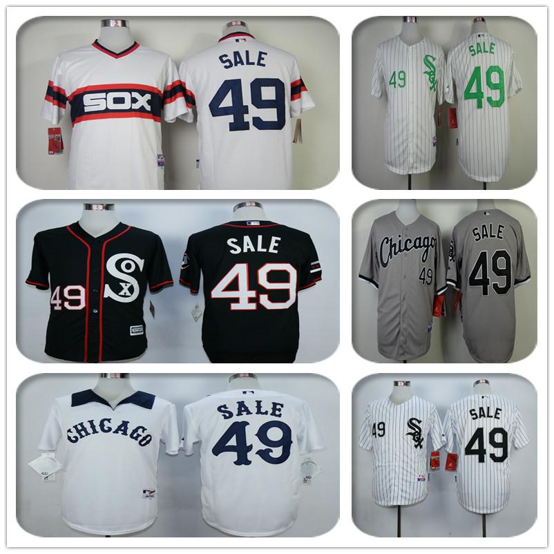 Cheap 2016 mens Chicagos #49 Chris Sale baseball jersey 100% stitched jersey black white gray(China (Mainland))