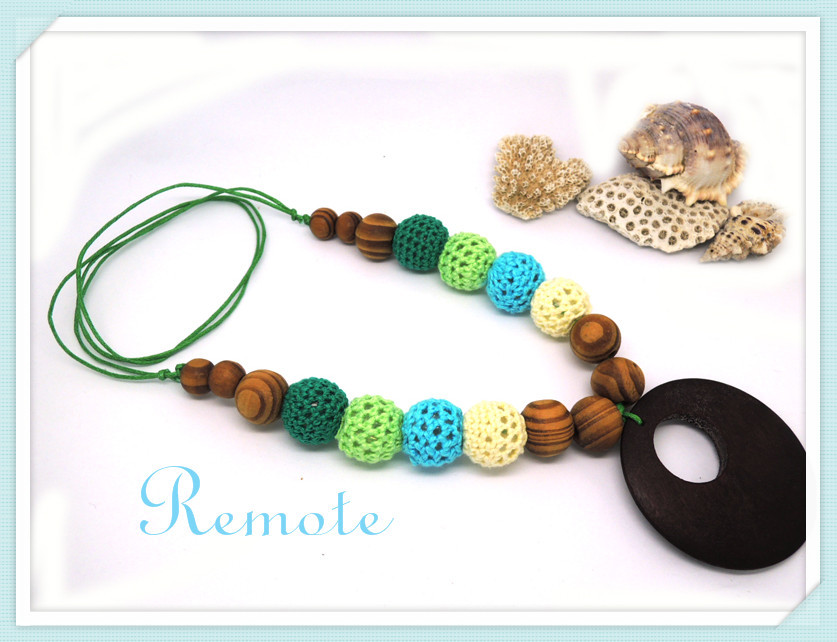 Pine wooden Non-toxic Crochet necklace,spring fade green blue cream color Nursing necklace Mom necklace Mother's day gift NW1482(China (Mainland))