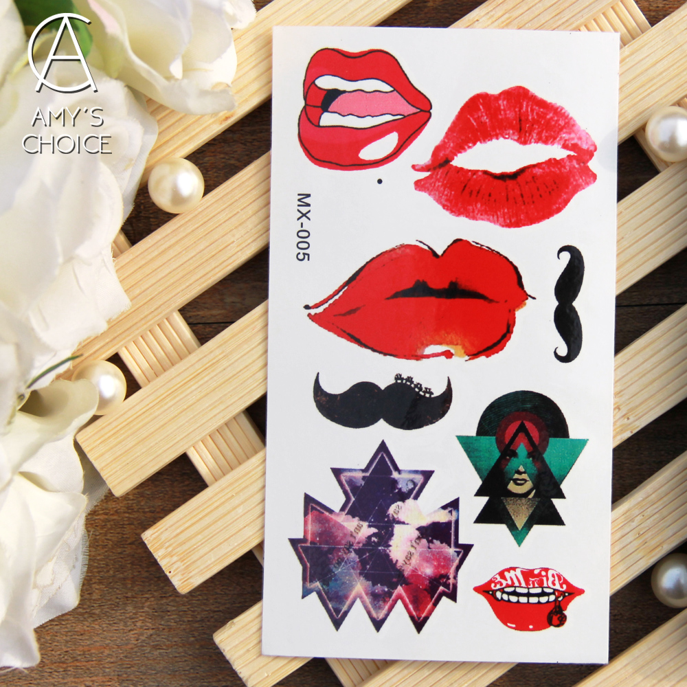 Water Transfer Flash Tattoo New Metallic Gold Silver Body Art Temporary Tattoo Sexy Non-Toxic Sticker For Sexy Red Lip(China (Mainland))