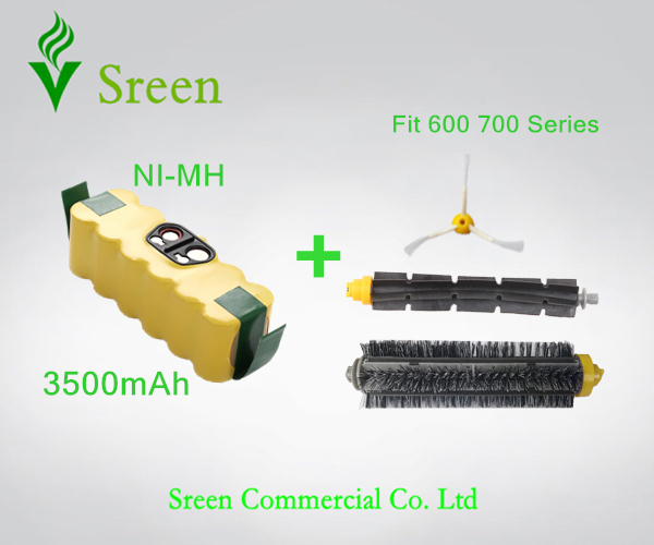 New Spare 14.4V Ni-MH 3.5Ah Replacement Brush Set with Rechargeable Battery Packs for iRobot Roomba 600 700 Series Special Price(China (Mainland))