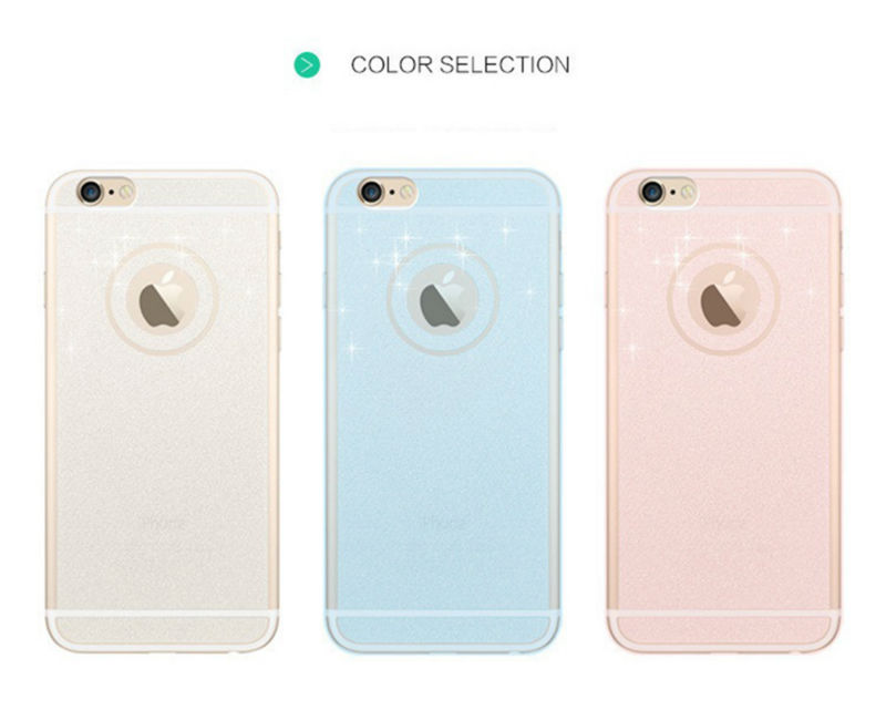 5S 6S pink color phone case For iphone 5 6 6 plus 6s plus mobile phone accessories TPU soft shining golden Bling cover For apple