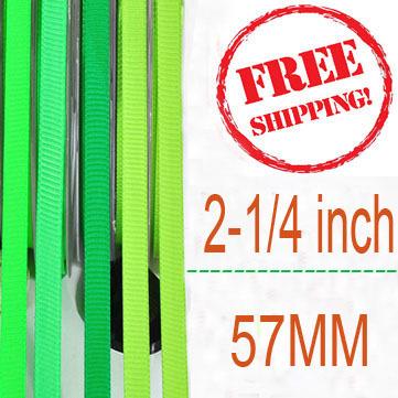 57mm grosgrain ribbon green series 100yards\lot 2-1/4 inch width green ribbon for hair bows diy materials(China (Mainland))