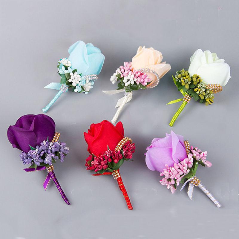 Corsage For Groom Groomsman Silk Rose Flower Wedding Suit Boutonnieres