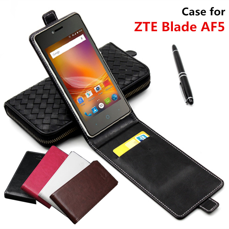 Classic Advanced Top Leather Flip Leather case For ZTE Blade AF5 / ZTE Blade AF 5 square Phone Cover Case With Card Slot(China (Mainland))