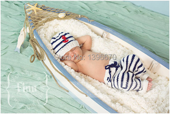 Newborn Infant Sailor Navy Stripe Anchor Hat Pants Baby Handmade Knit Crochet Baby photo props Outfit Costume(China (Mainland))