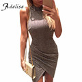 Summer Sexy Grey Party Women Knitted Split Short Dress Gray Sleeveless Mini Dress Sweater Turtleneck Robe