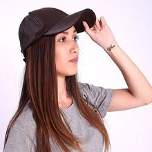 2015 Fashion Black Brown Leather Baseball Cap High Quality Adjustable Summer Casual Headwear Men's Promotional Baseball Cap(China (Mainland))