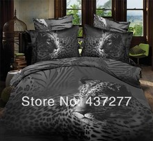 black and grey manly leopard animal bedding set/bed linen full queen polyester bed cover duvet covers sheet comforter sets 4/5pc(China (Mainland))