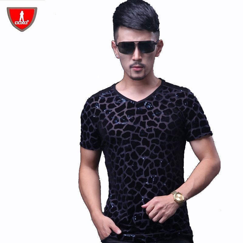 Ccxo brand men 39 s summer ice silk printed short sleeve v for Branded v neck t shirts