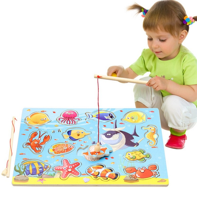 Magnetic Puzzle Board Wooden Ocean Jigsaw Child Kid Educational Toy Electric Rotating Magnet Fish Rod Fishing Game(China (Mainland))