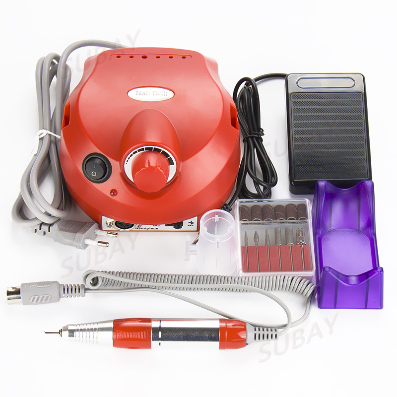 Pro 220V Red Electric File Buffer Bits Machine Set Electric Nail Art Drill Manicure Pedicure Nails Tool Kit