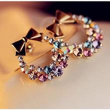 Women Imitation Colorful Rhinestone Bowknot Stud Earrings Gold Crystal Cubic Zirconia Bow Earring Female Fashion Vintage Jewelry(China (Mainland))