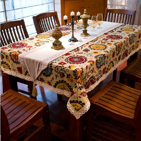 Ethnic style quality cotton &linen lacework dining tablecloth multi functional table cloth for party picnic outdoor use WXT444(China (Mainland))
