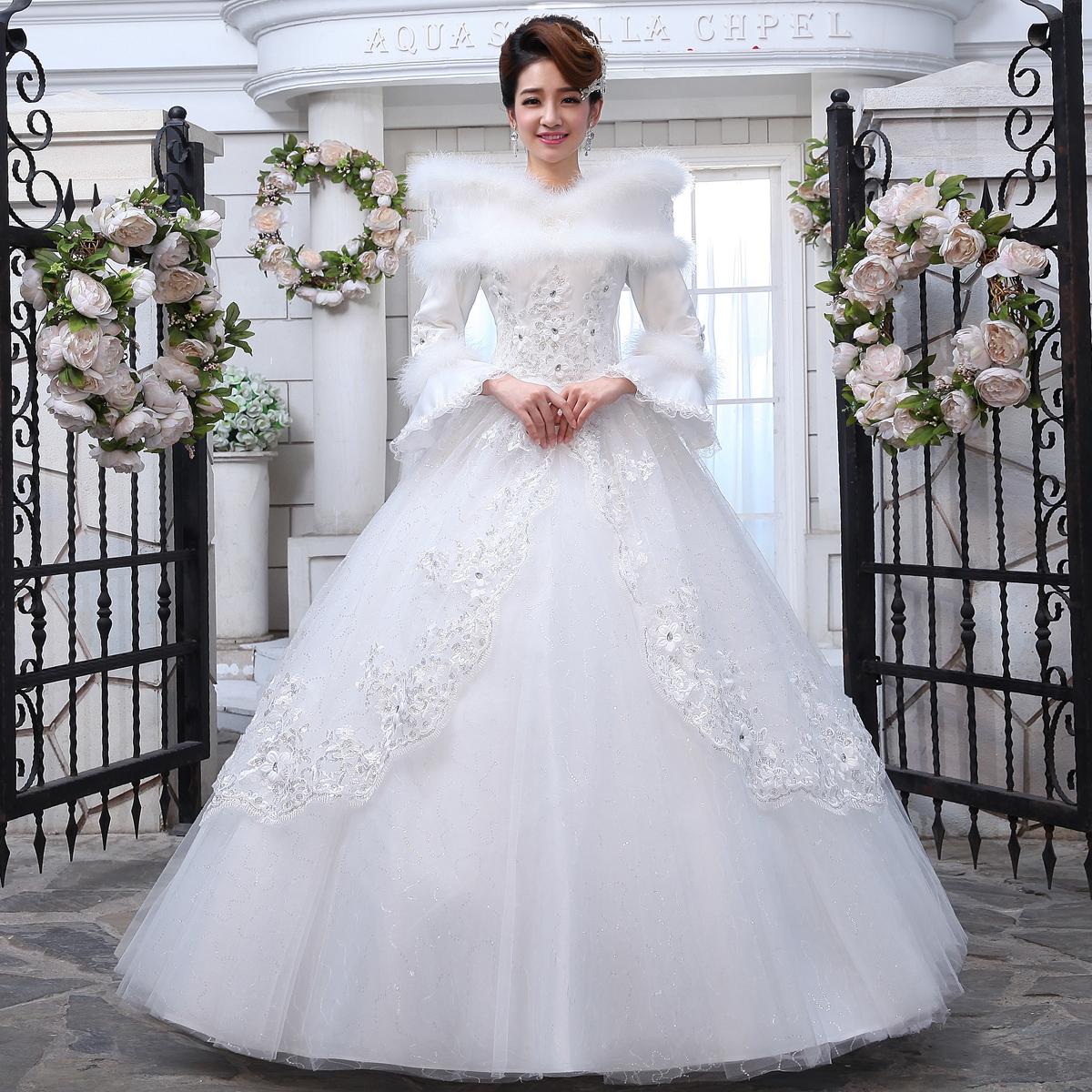 Winter new arrival 2013 thickening fur collar winter long-sleeve lace cotton winter wedding dress long-sleeve wedding dress(China (Mainland))