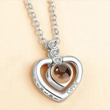 אהבת לב רומנטי אהבת זיכרון חתונה שרשרת עלה זהב וכסף 100 שפות אני אוהב אותך הקרנה תליון שרשרת(China)