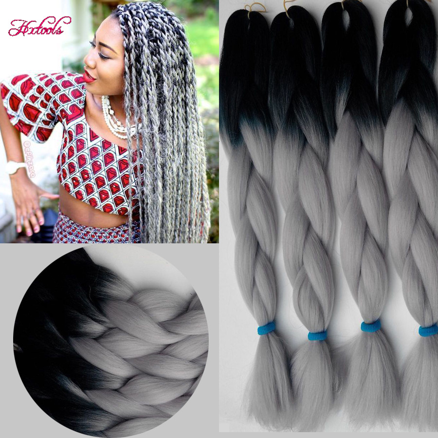 10pcs 2460cm 100g Synthetic Braiding Hair Extensions Ombre Colors