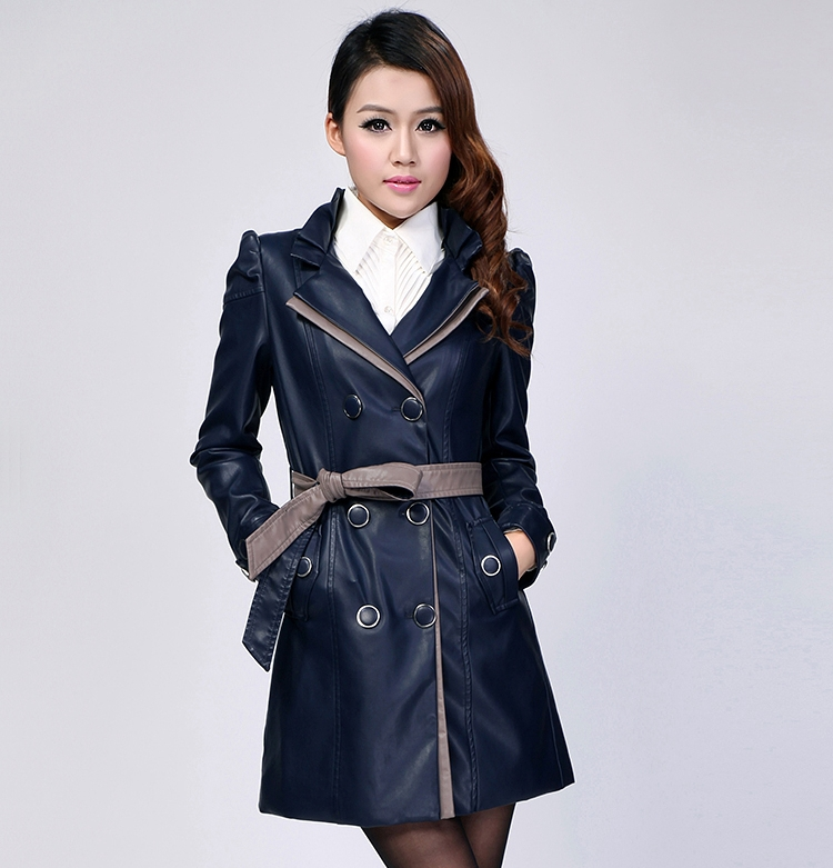 Hot ! New Women's Brand Fashion Casual Sheepskin Genuine Leather Locomotive Long Coat Jacket / L-4XL - T Y HUI's store